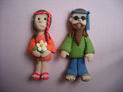 Hippie Wedding Cake Toppers